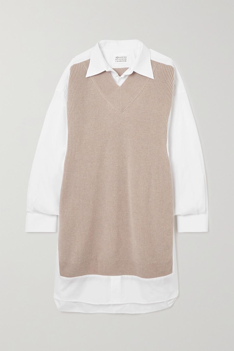 Maison Margiela Robe-chemise en popeline de coton et laine côtelée