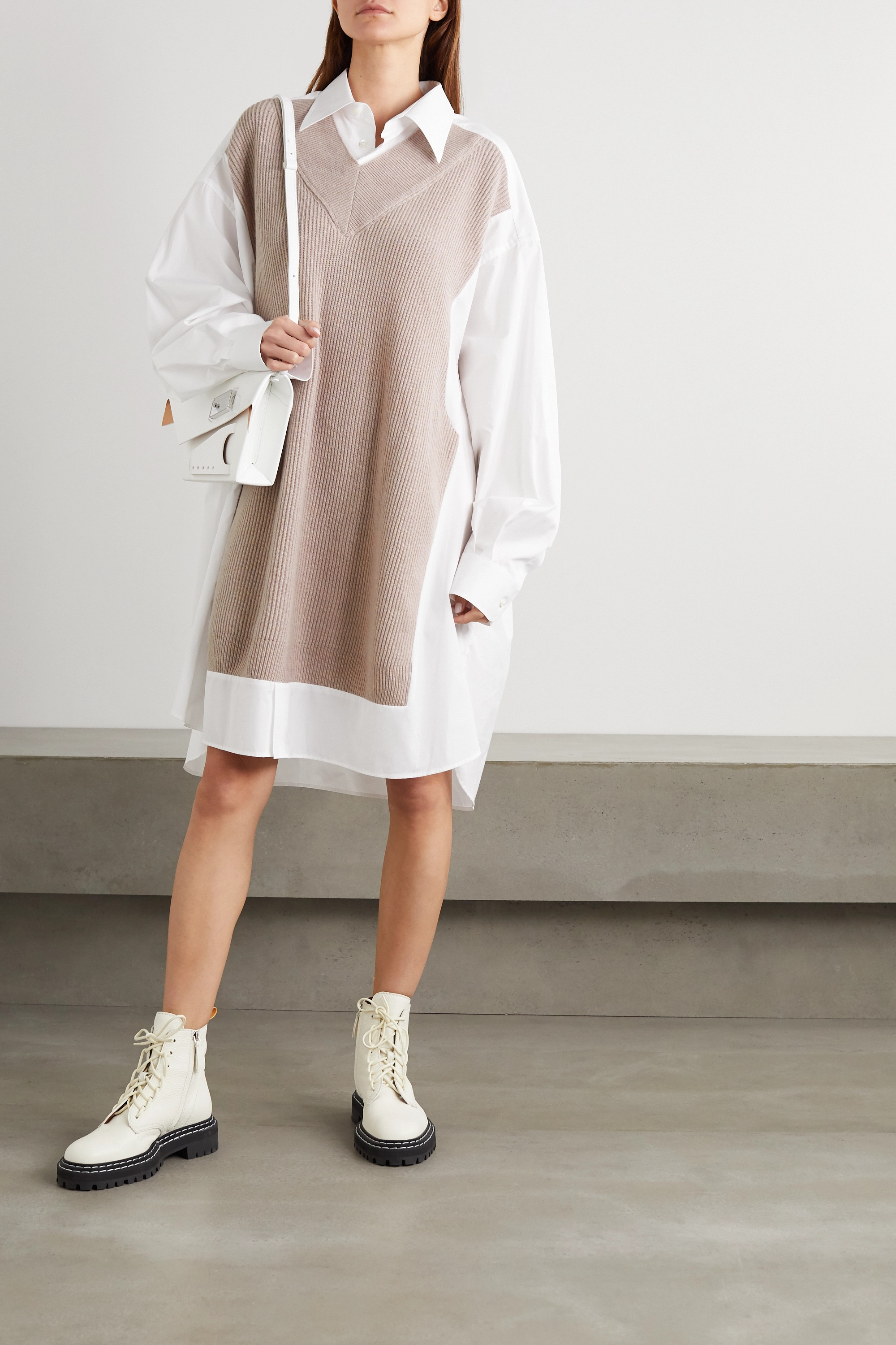 Maison Margiela Ribbed wool and cotton-poplin shirt dress