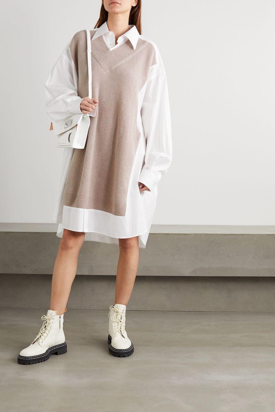 Maison Margiela Ribbed wool and cotton-poplin shirt dress