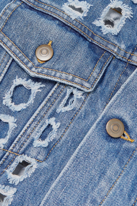 Navy Distressed Cutout Denim Jacket | Maison Margiela