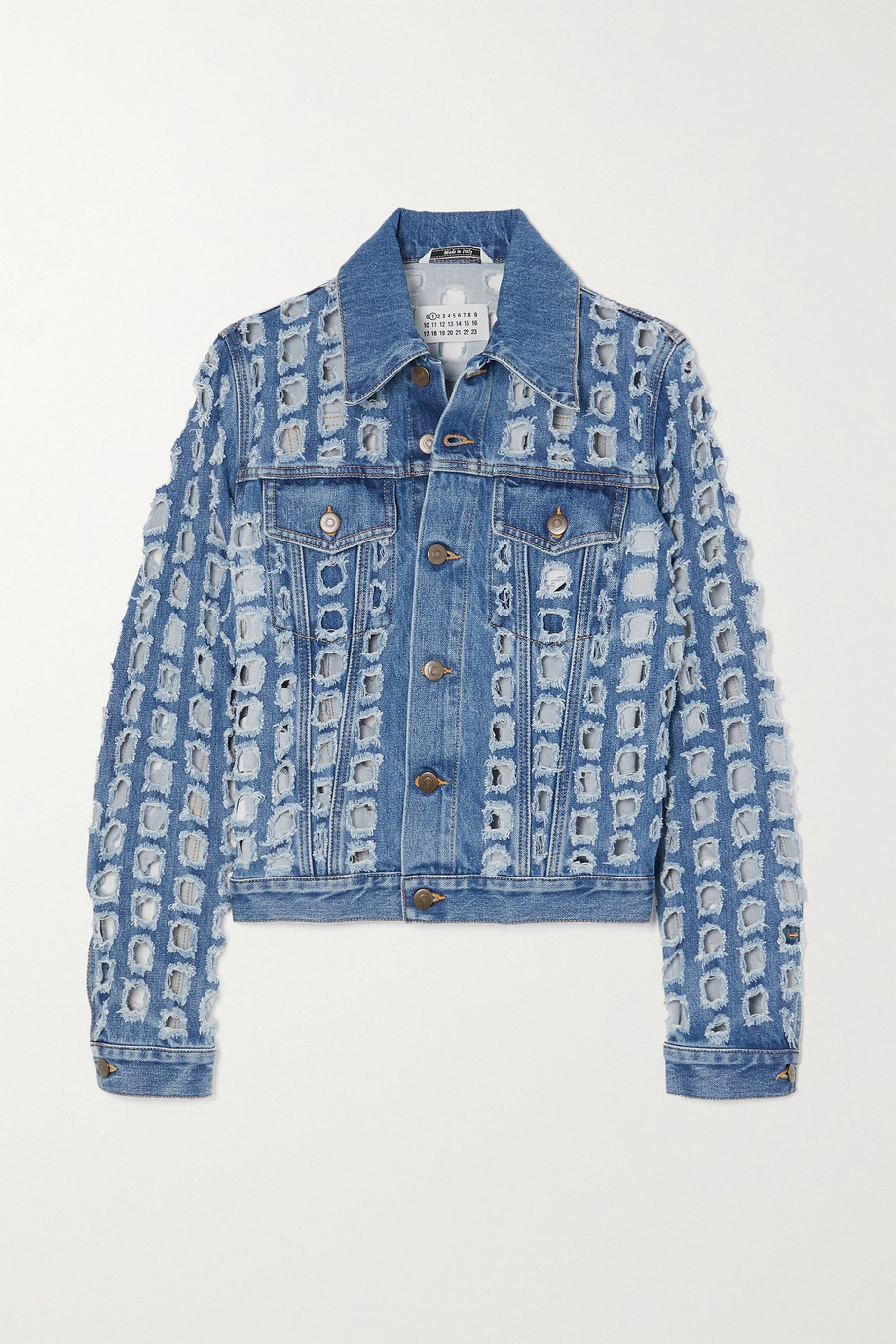 Maison Margiela Distressed cutout denim jacket