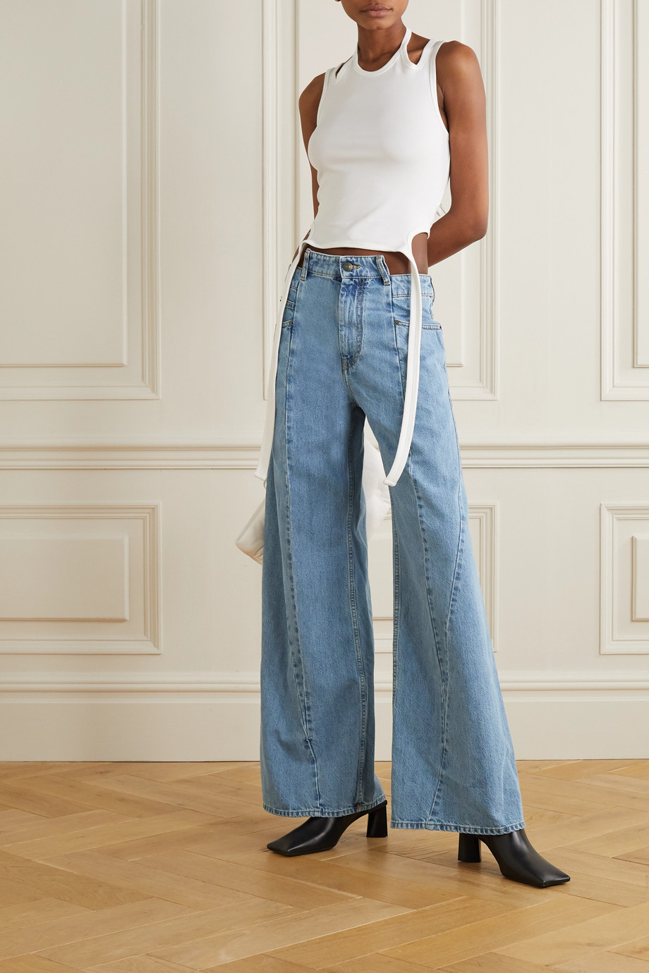 Maison Margiela Décortiqué paneled high-rise wide-leg jeans