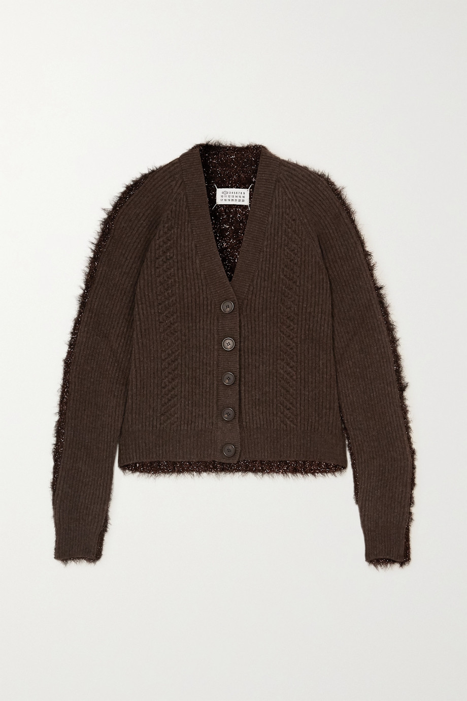 Maison Margiela Paneled ribbed wool and tinsel cardigan
