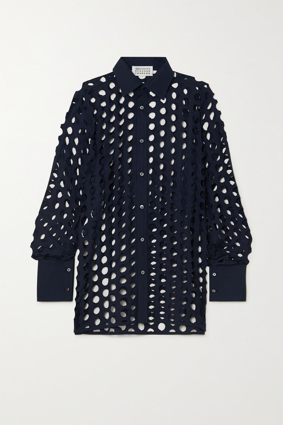 Maison Margiela Distressed cotton-poplin shirt