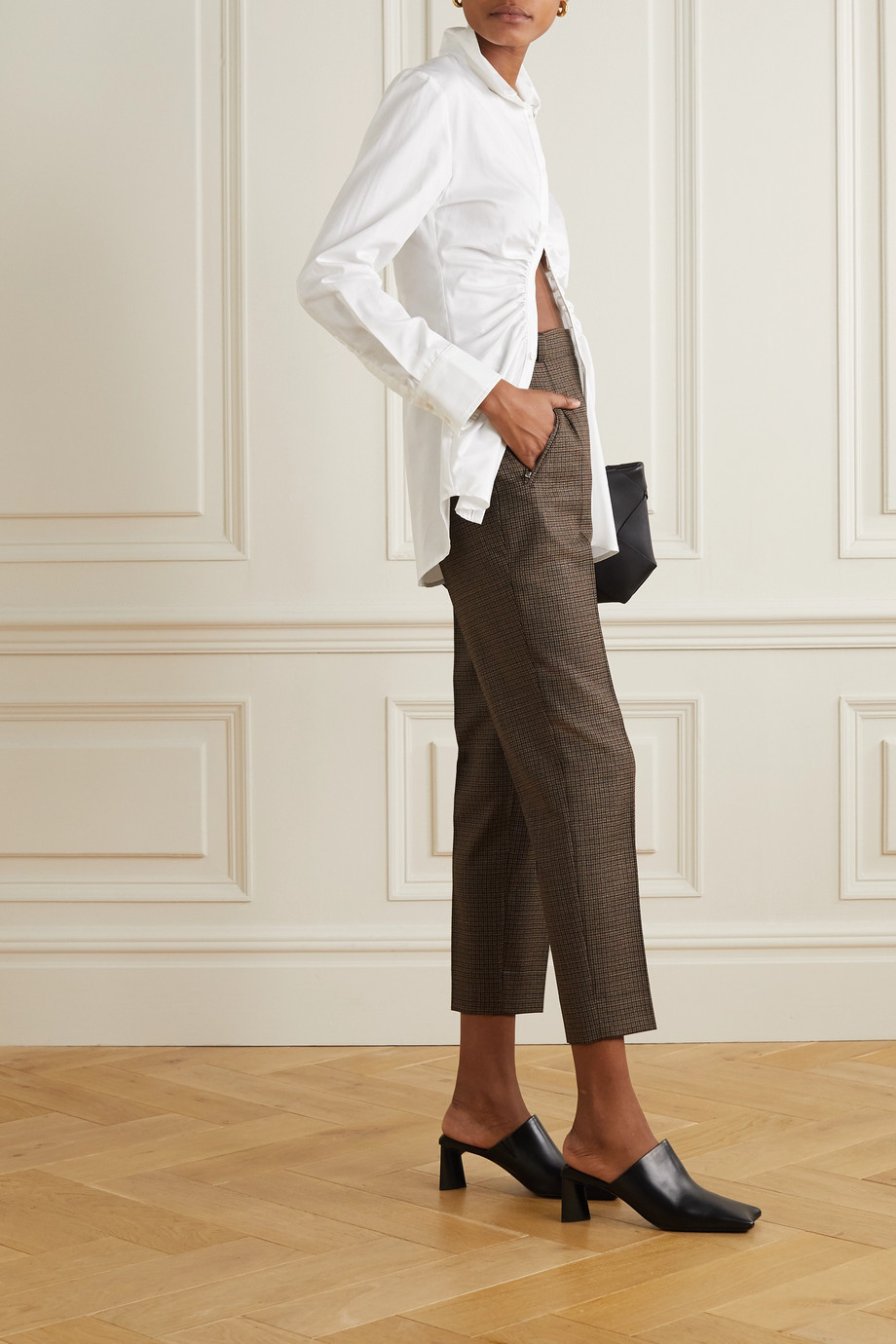 Maison Margiela Cropped houndstooth wool straight-leg pants