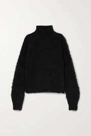 Maison Margiela Paneled ribbed wool and tinsel turtleneck sweater