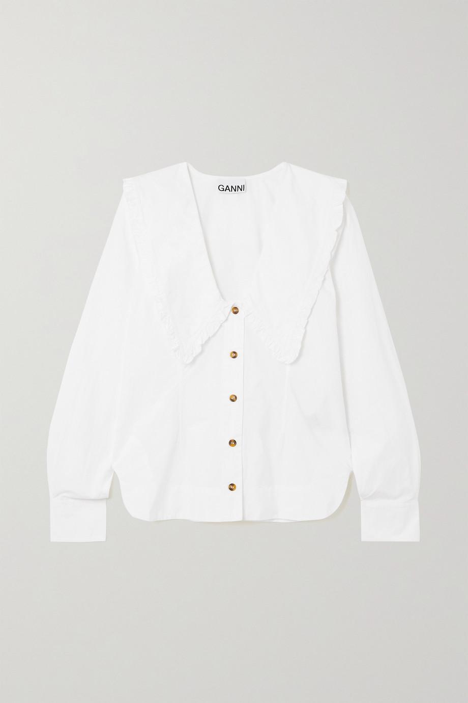GANNI Ruffled organic cotton-poplin shirt