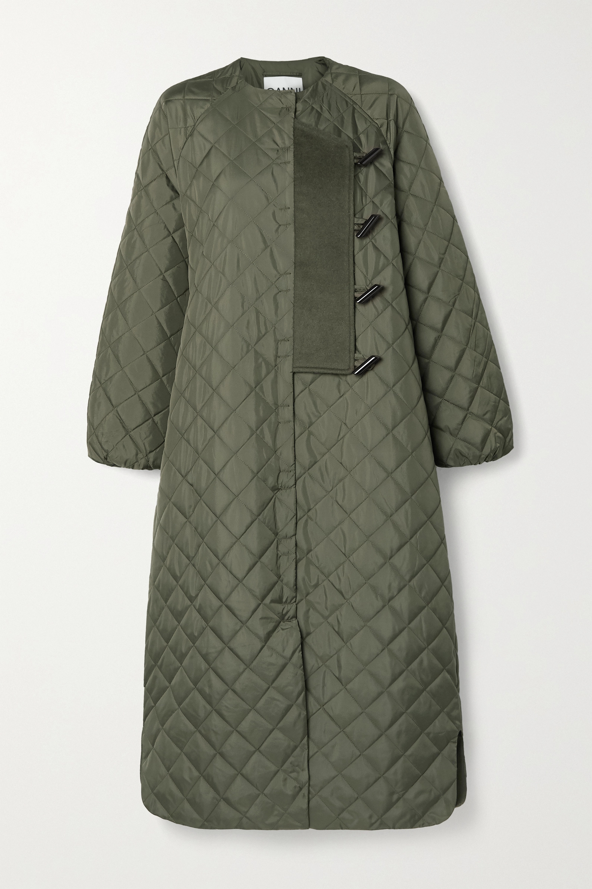GANNI Felt-trimmed quilted ripstop coat