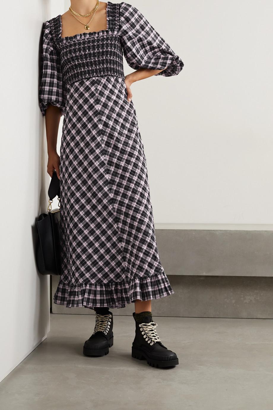 GANNI Smocked checked cotton-blend seersucker midi dress