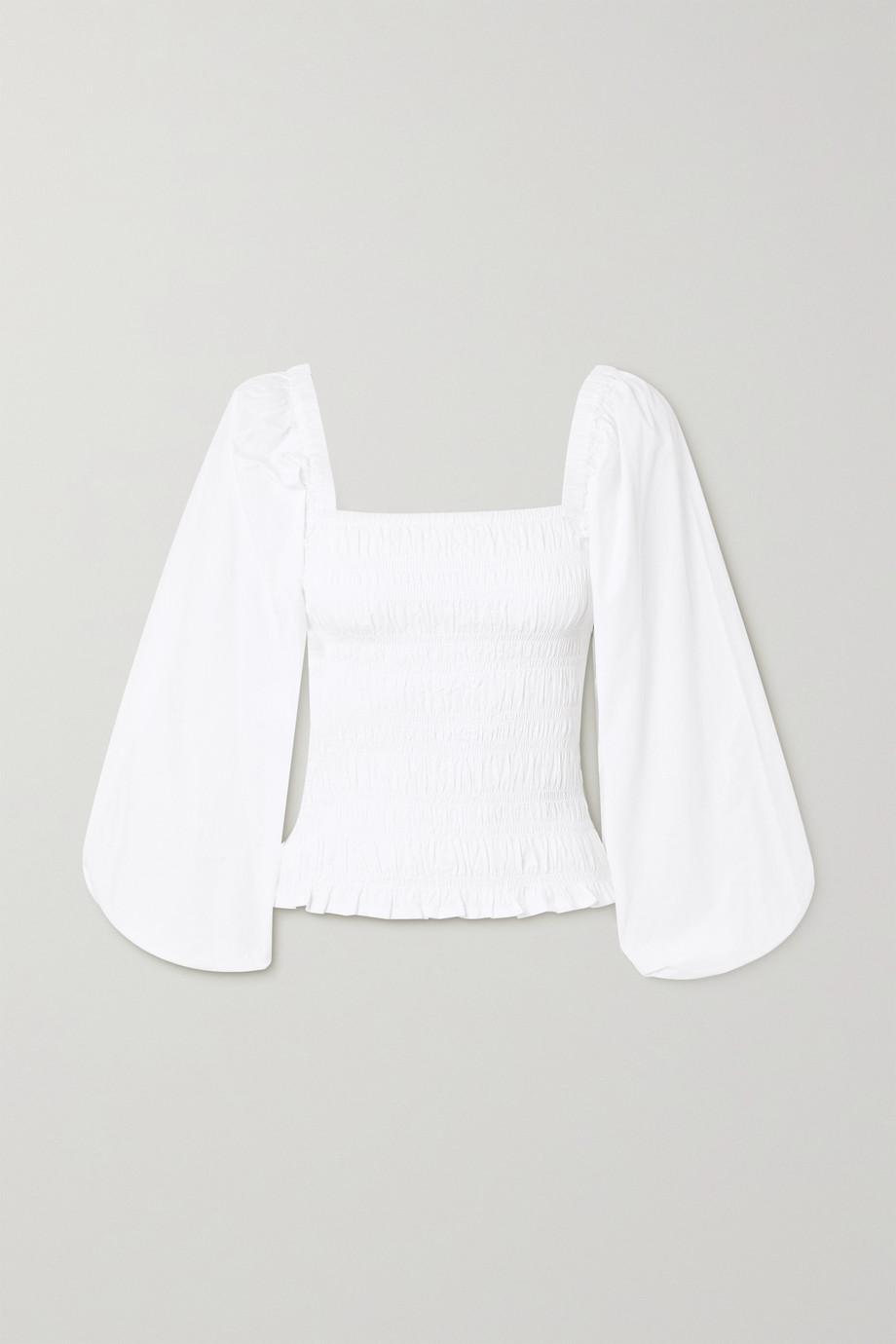 GANNI Smocked cotton-poplin top