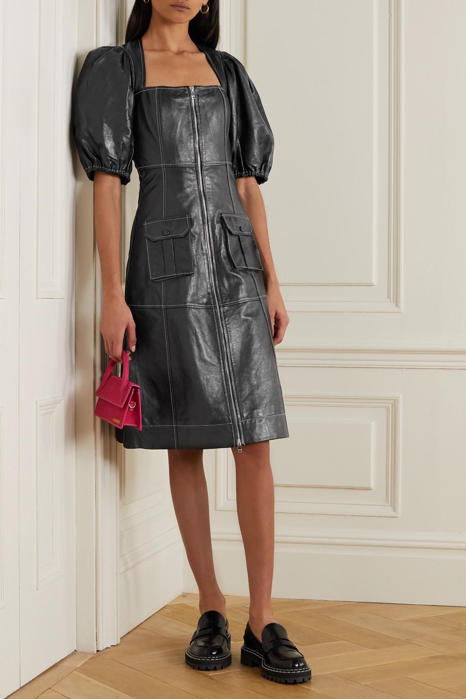 GANNI Zip-detailed leather dress
