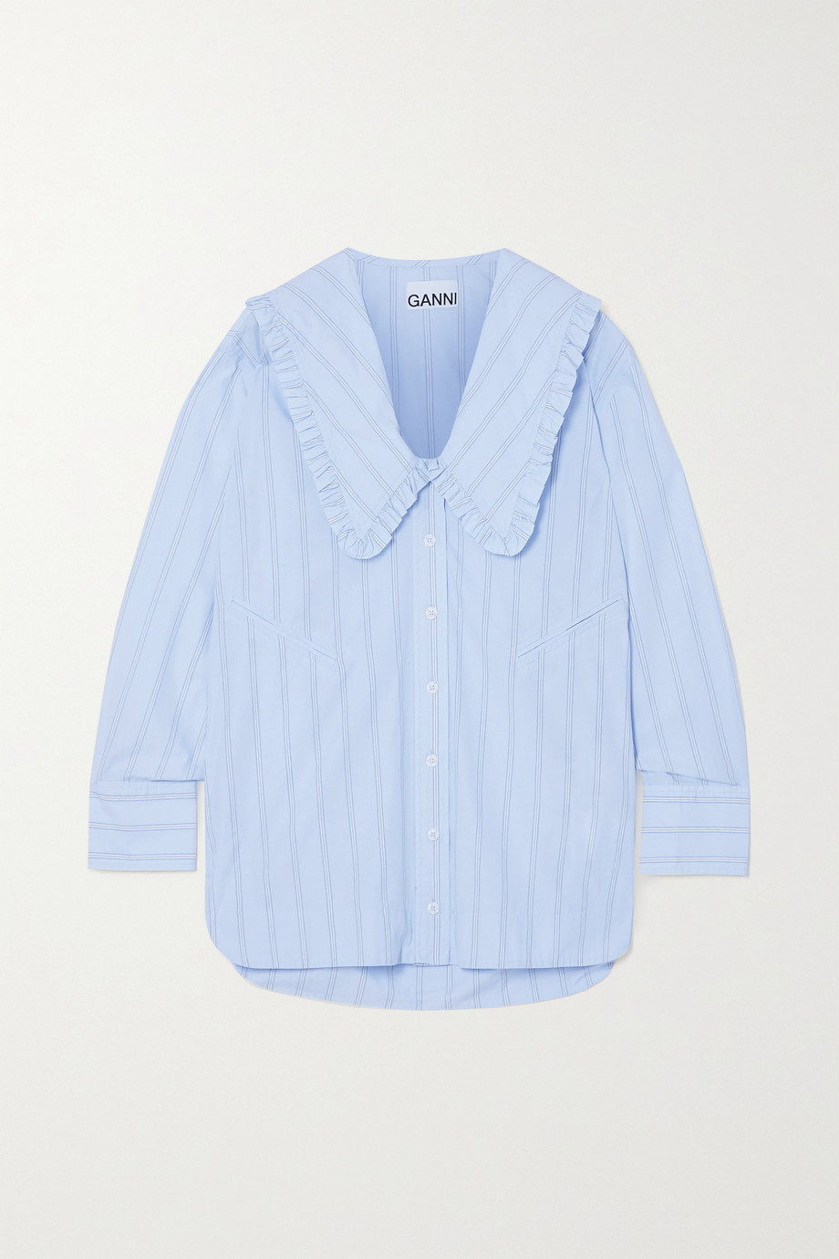 GANNI Ruffled striped organic cotton shirt