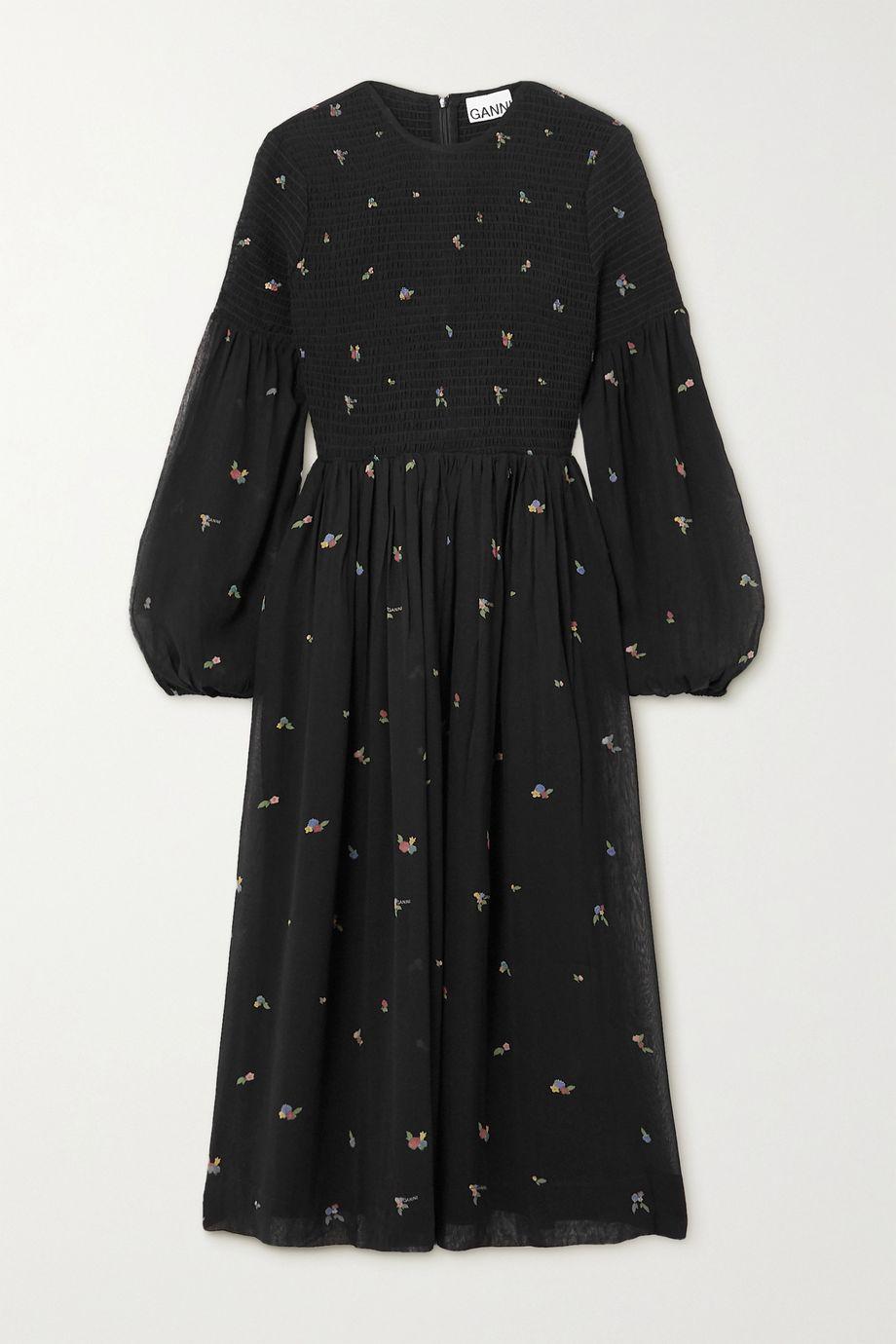 GANNI Smocked printed georgette midi dress