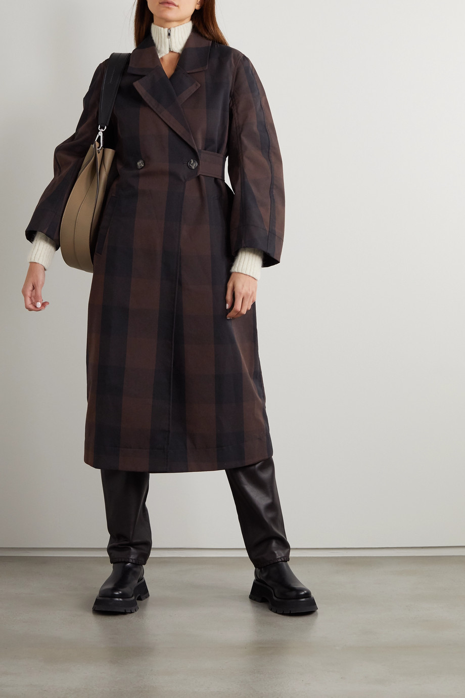 GANNI Belted double-breasted checked cotton-blend coat