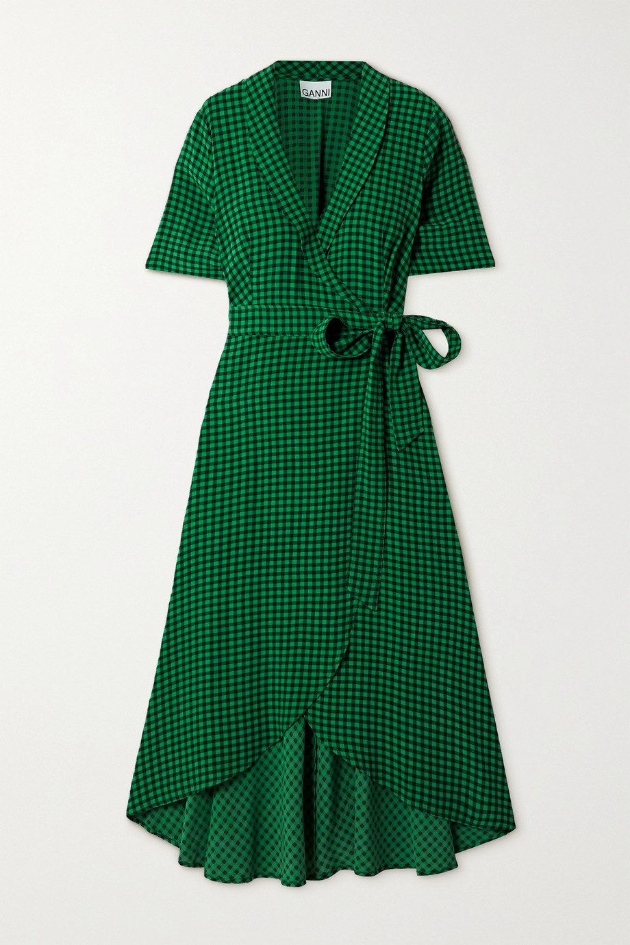 GANNI Gingham crepe midi wrap dress