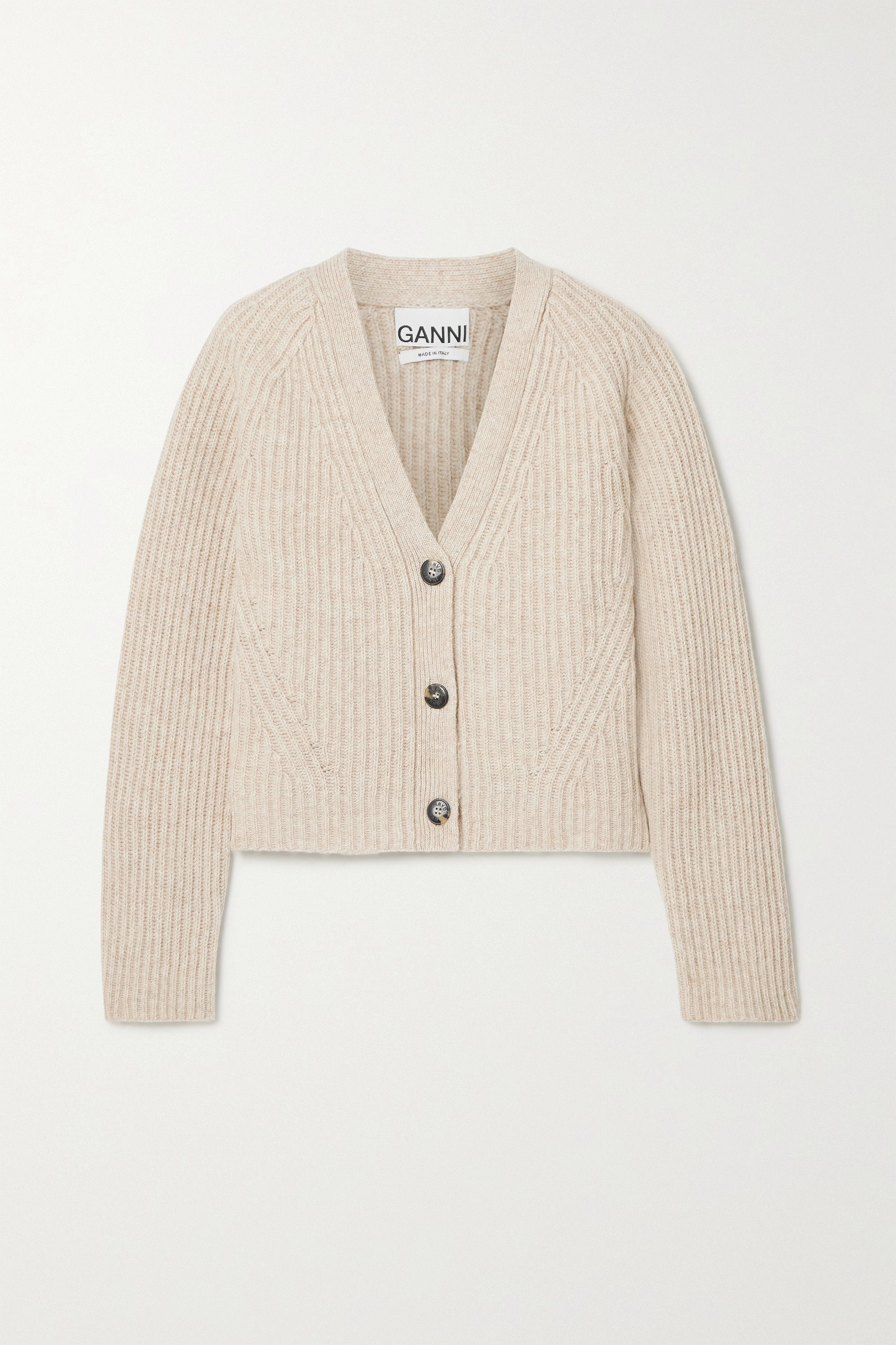 GANNI Cropped ribbed wool-blend cardigan