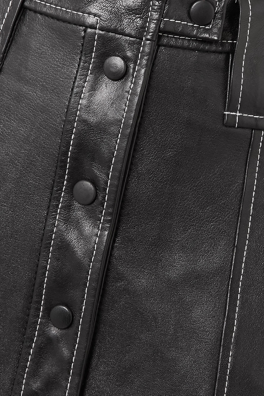 GANNI Midirock aus Leder mit Kontrastnähten
