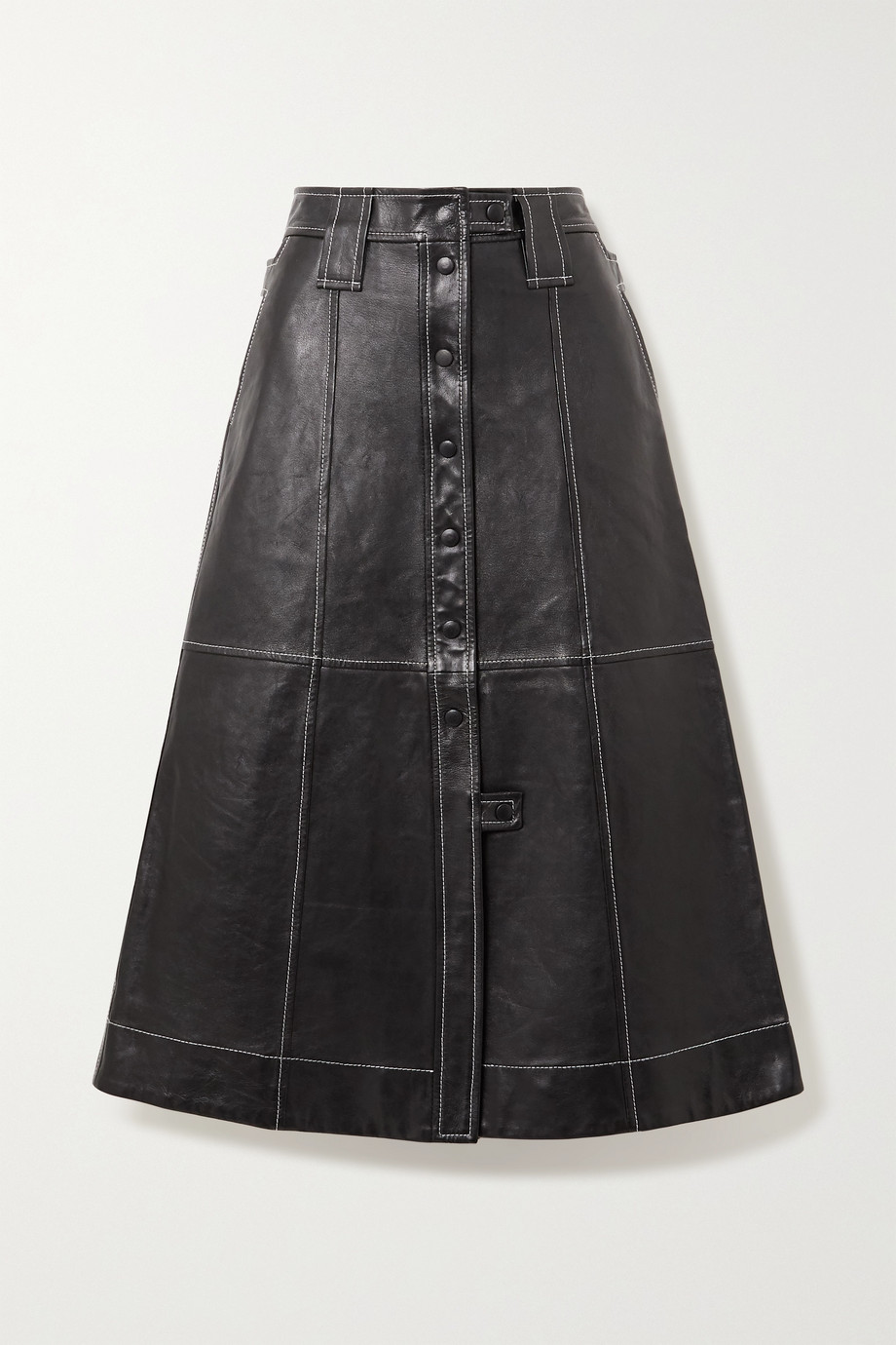 GANNI Topstitched leather midi skirt