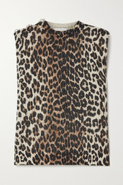 GANNI Crystal-embellished leopard-print wool and yak-blend top