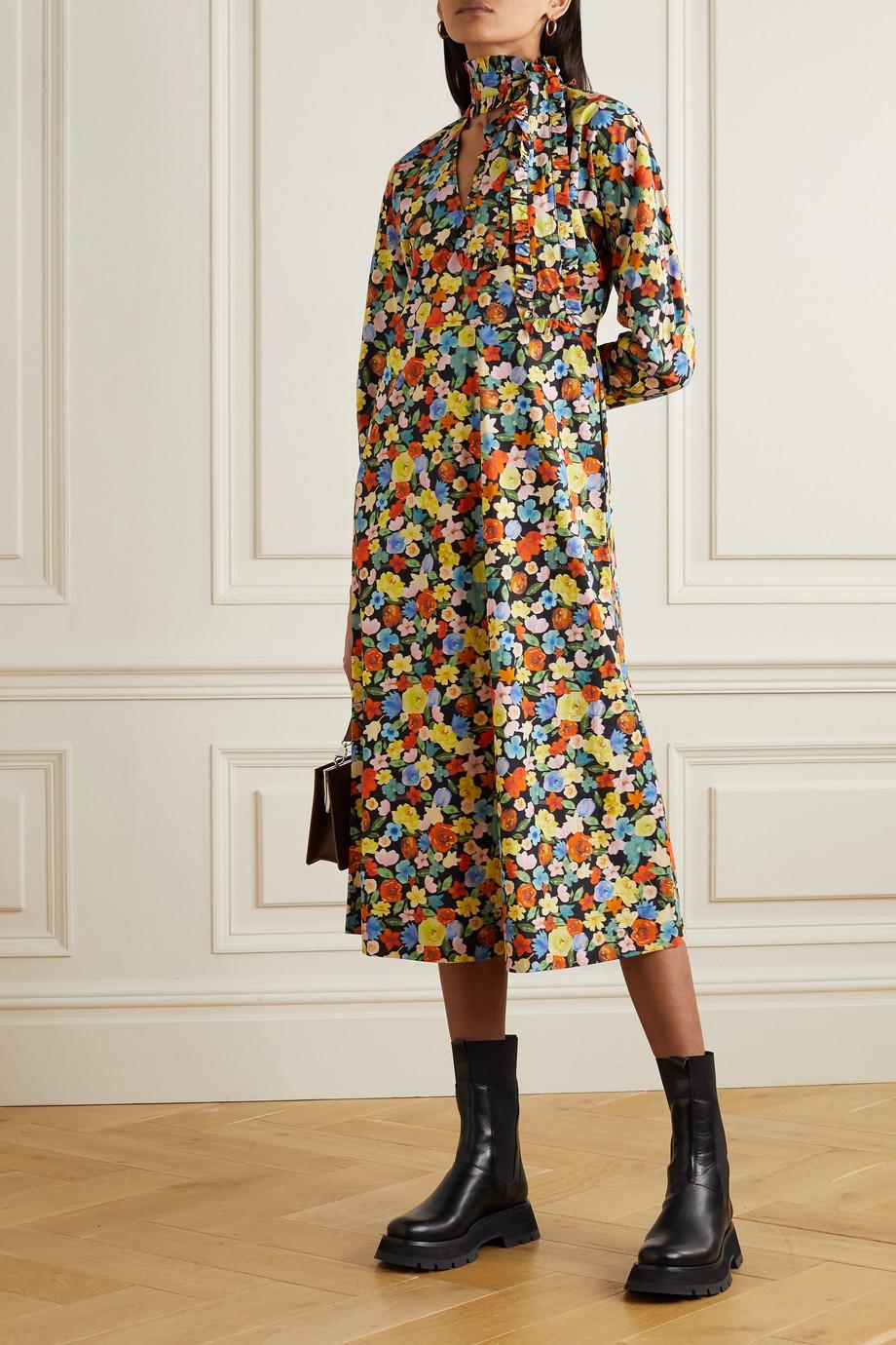 GANNI Tie-neck floral-print cotton-poplin midi dress