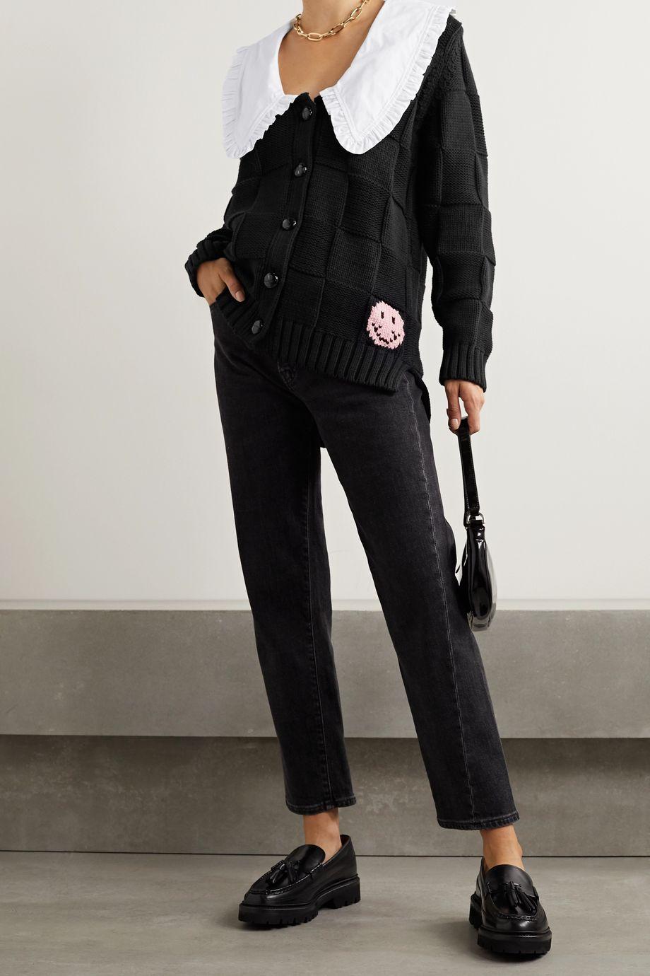 GANNI Poplin-trimmed cotton-blend jacquard cardigan