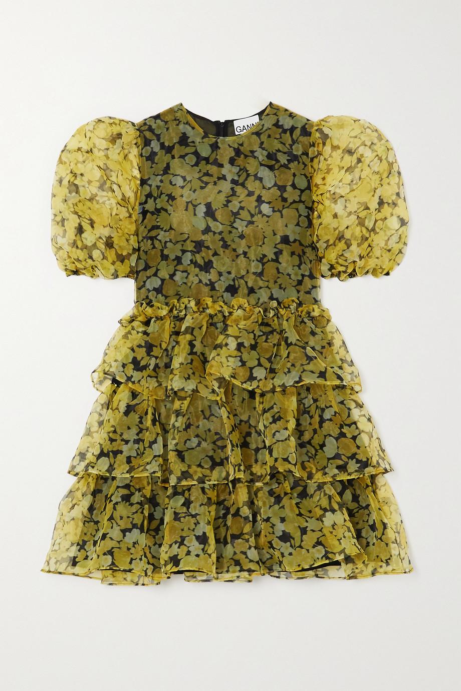 GANNI Mini-robe en organza à imprimé fleuri et à volants