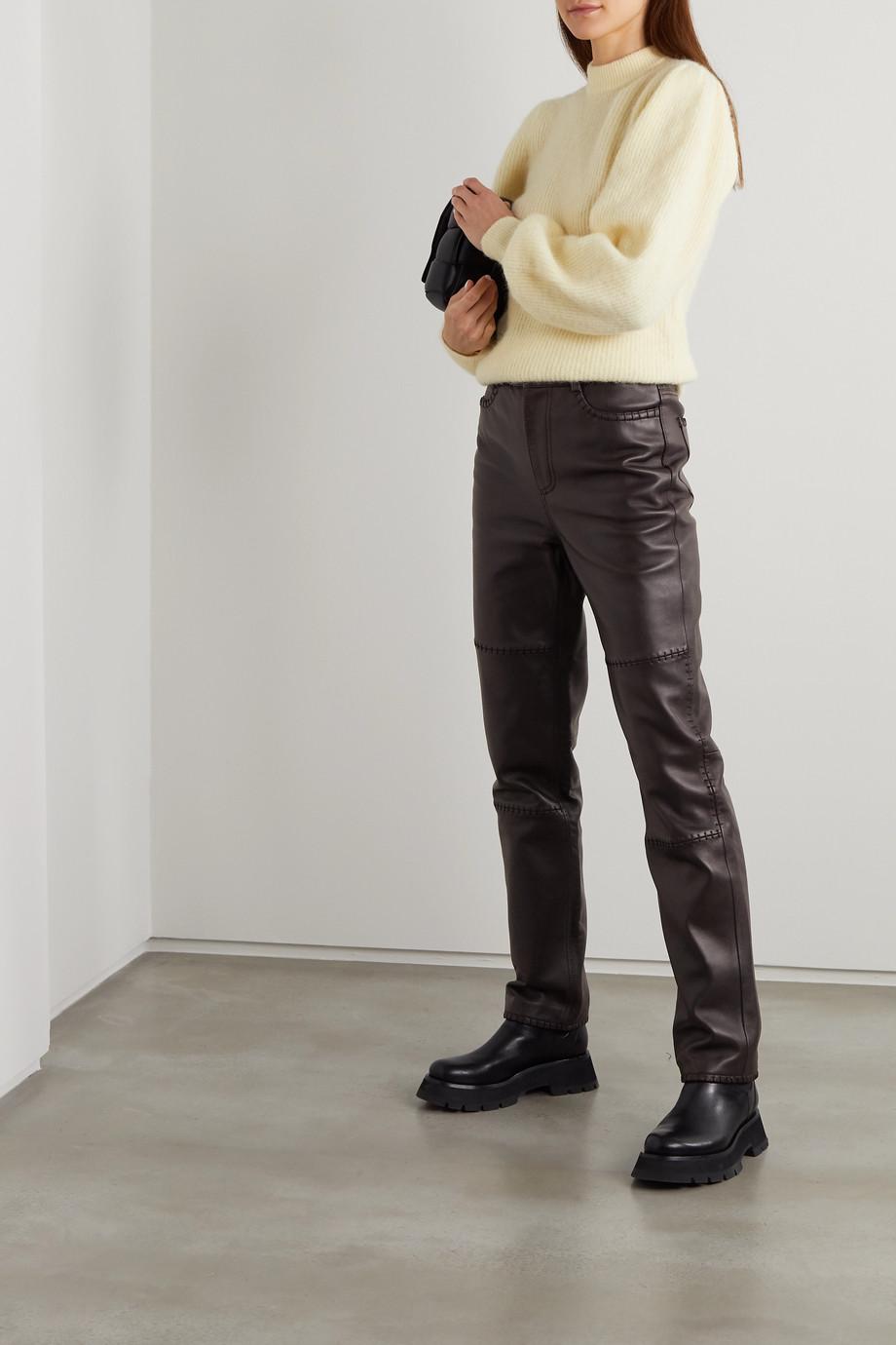 GANNI Paneled leather straight-leg pants