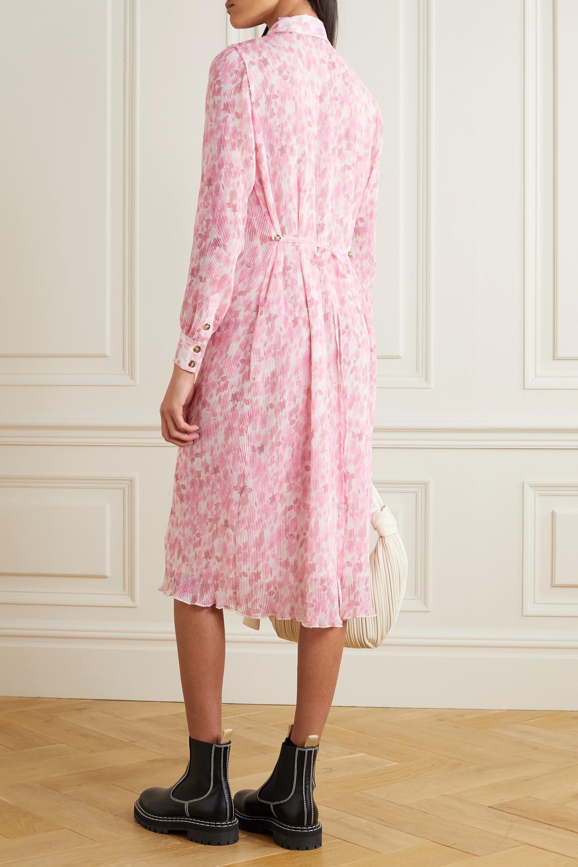 GANNI Midi-Hemdblusenkleid aus plissiertem Georgette mit Blumenprint