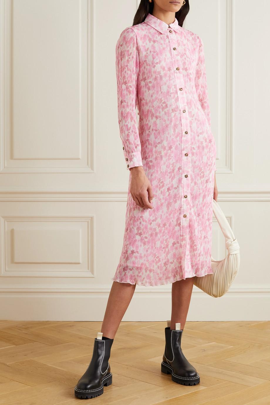 GANNI Robe-chemise midi en georgette plissée à imprimé fleuri