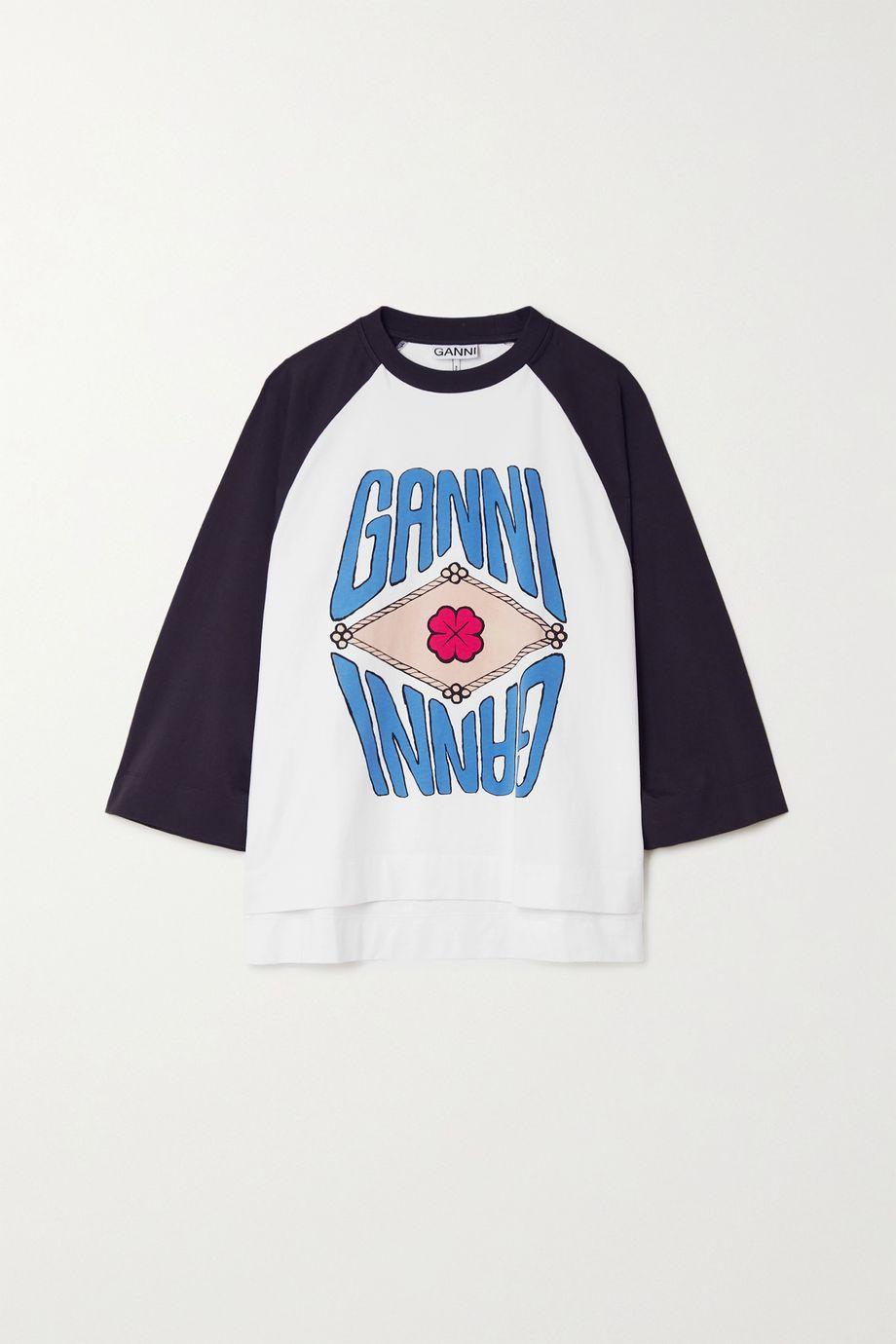 GANNI + NET SUSTAIN printed organic cotton-jersey top