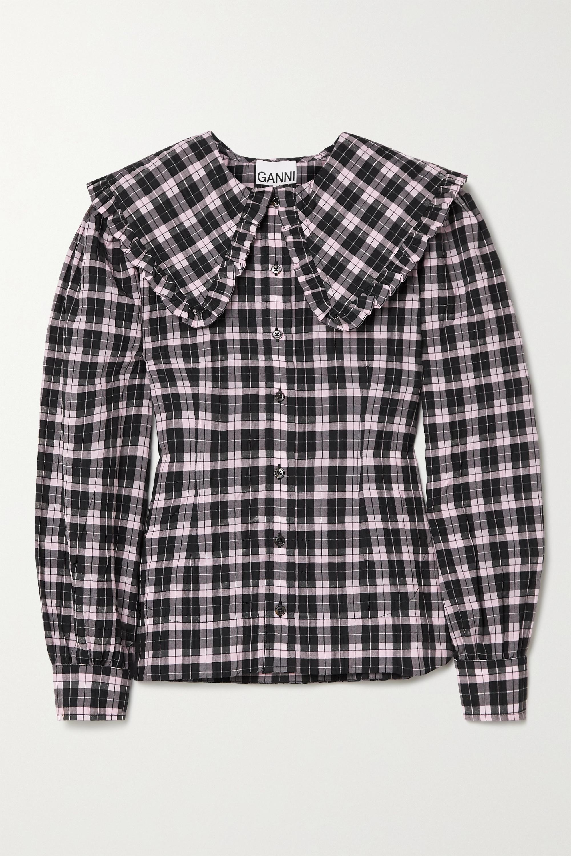 GANNI Ruffled checked cotton-blend seersucker blouse