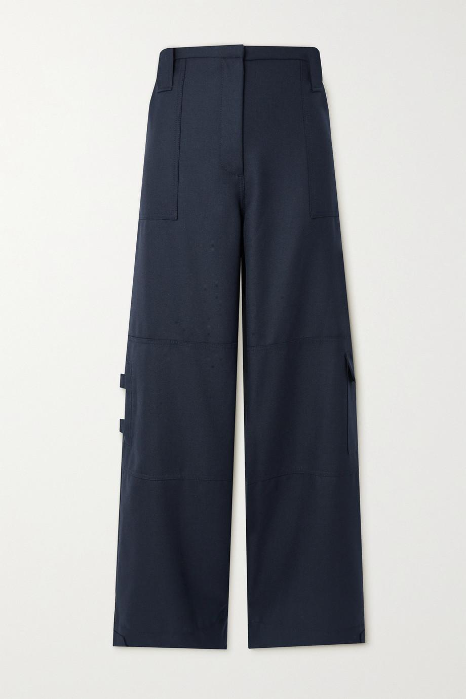 GANNI Pantalon large en laine mélangée