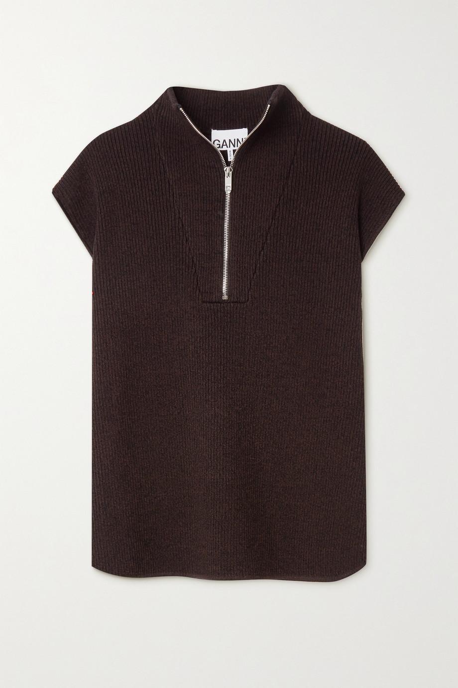 GANNI Ribbed-knit vest