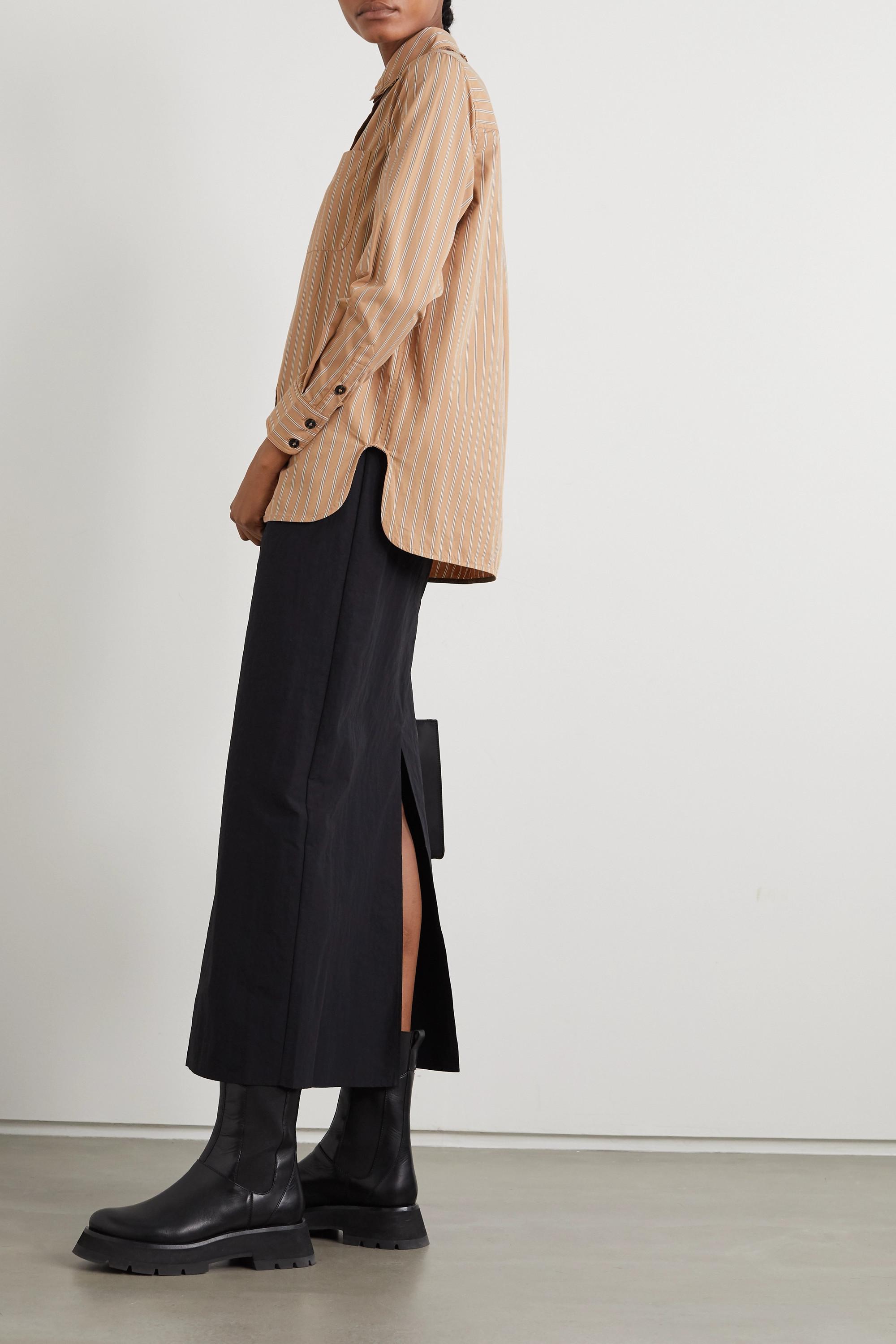 GANNI Ruffled striped organic cotton shirt
