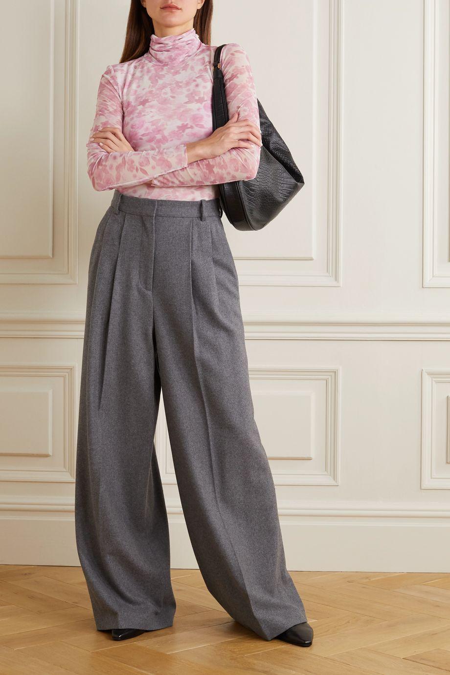 GANNI Floral-print stretch-mesh turtleneck top