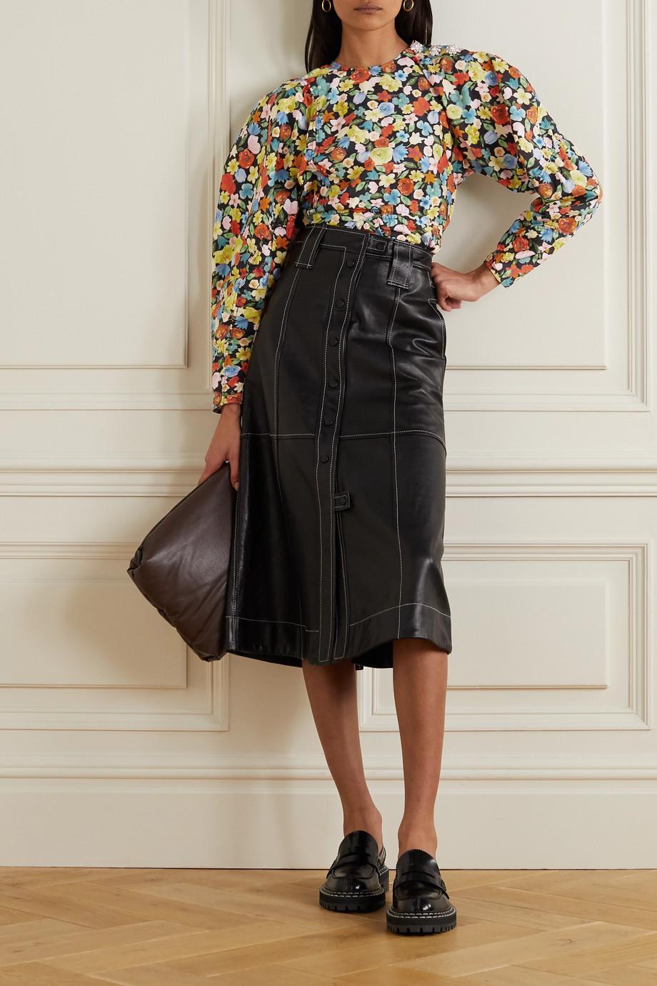 GANNI Crystal-embellished floral-print organic cotton-poplin blouse