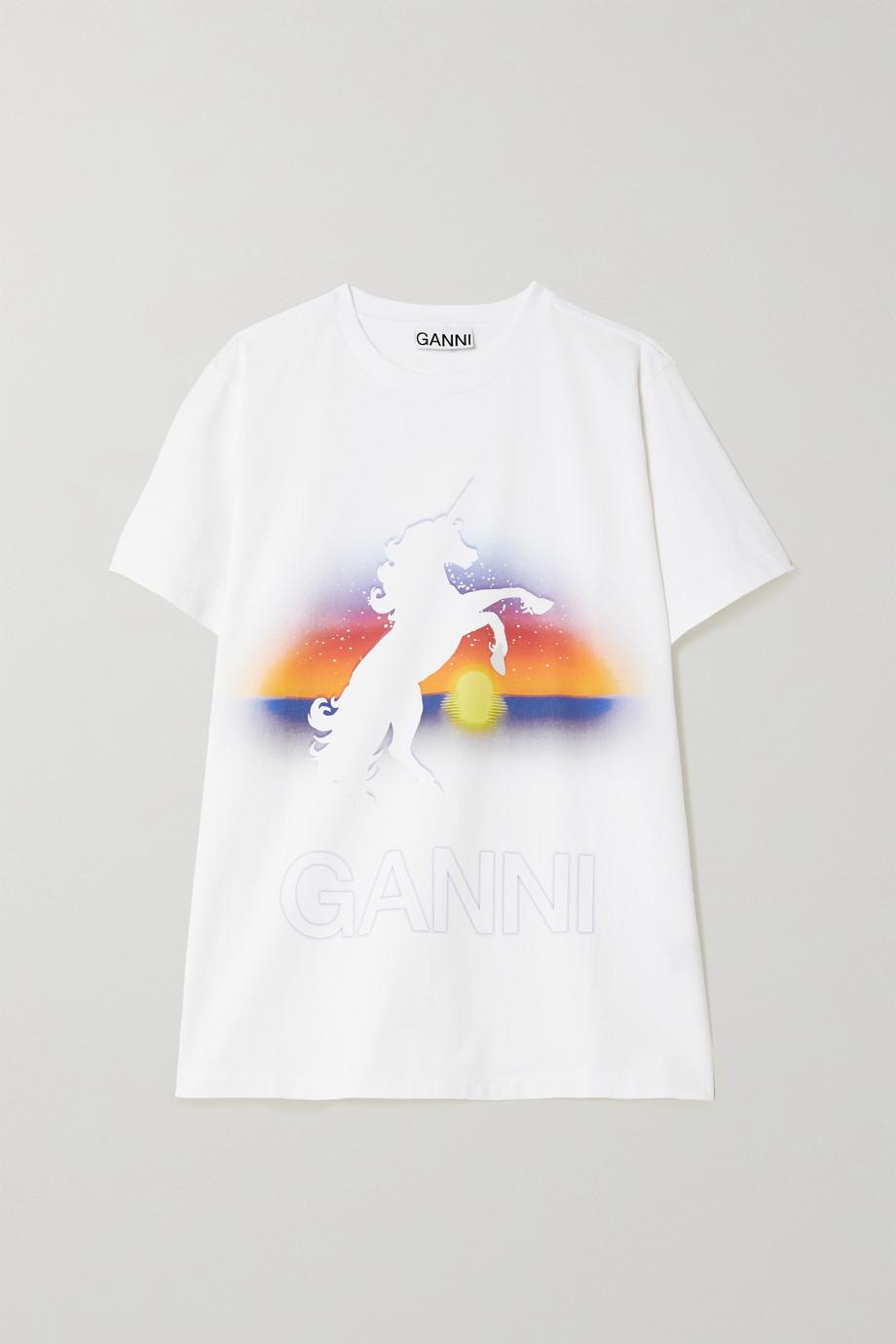 GANNI T-shirt en jersey de coton biologique imprimé