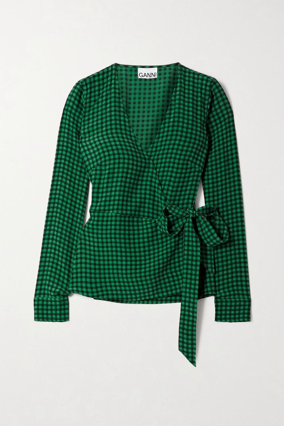 GANNI 方格绉纱围裹式上衣