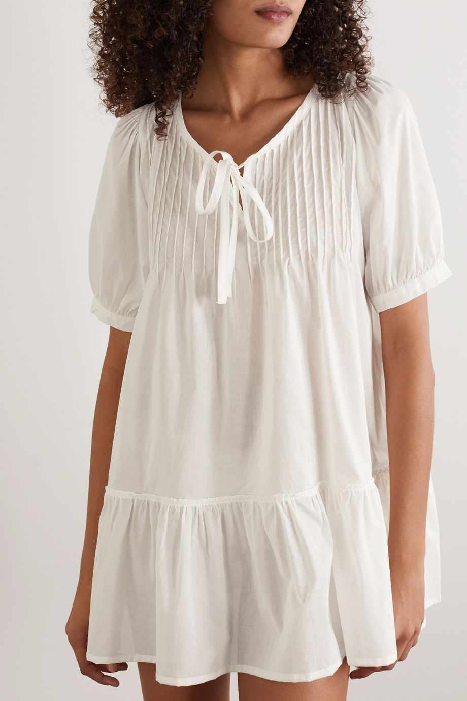 Pour Les Femmes Ruffled cotton-voile nightdress