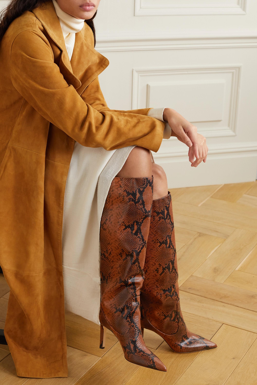 Jimmy Choo Mavis 85 snake-print leather knee boots