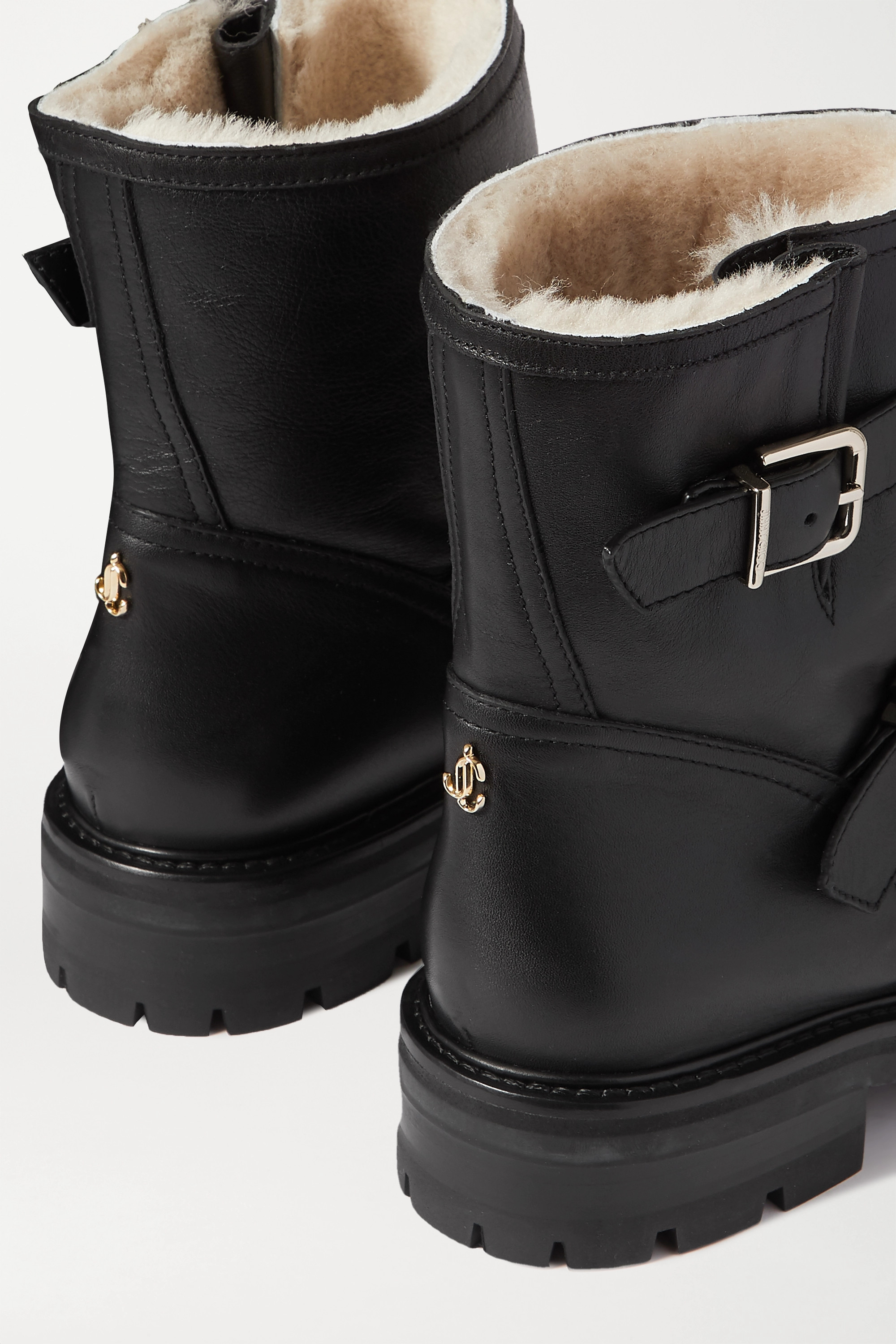 Jimmy Choo Youth II buckled shearling-lined leather ankle boots
