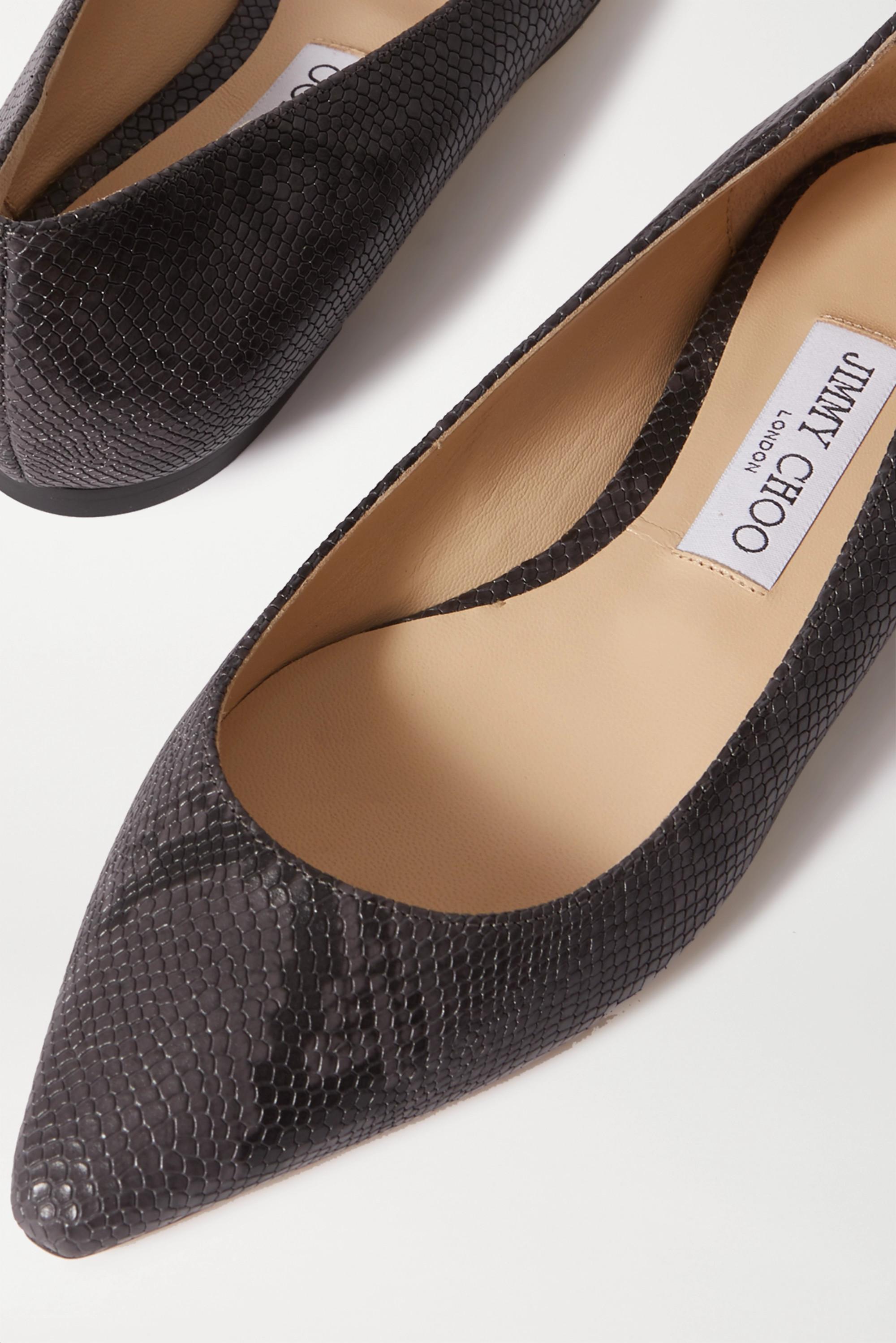 Jimmy Choo Romy snake-effect leather point-toe flats