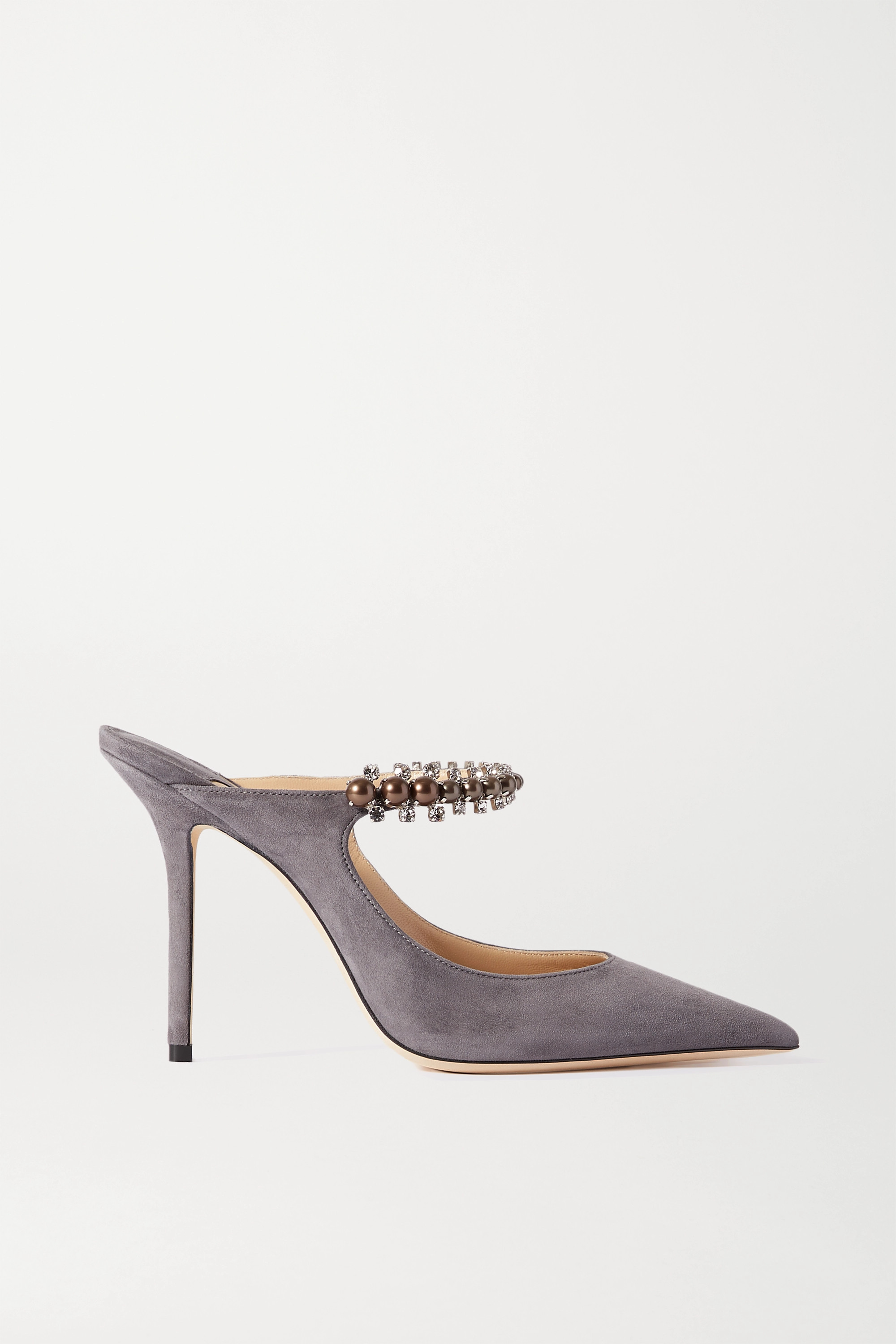Jimmy Choo Bing 100 crystal and faux pearl-embellished suede mules