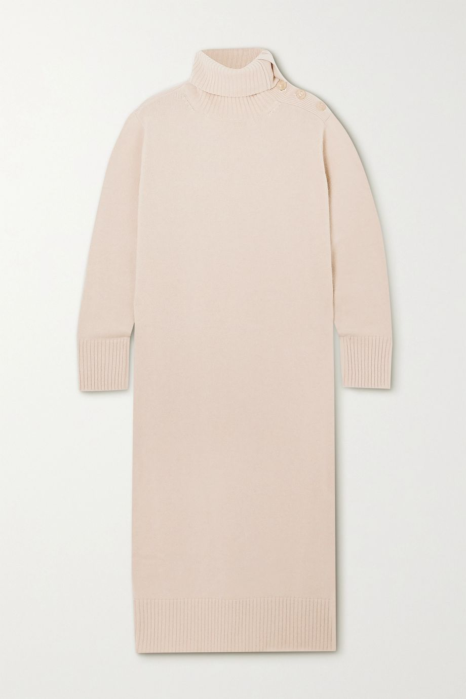 Max Mara Button-embellished wool and cashmere-blend turtleneck midi dress