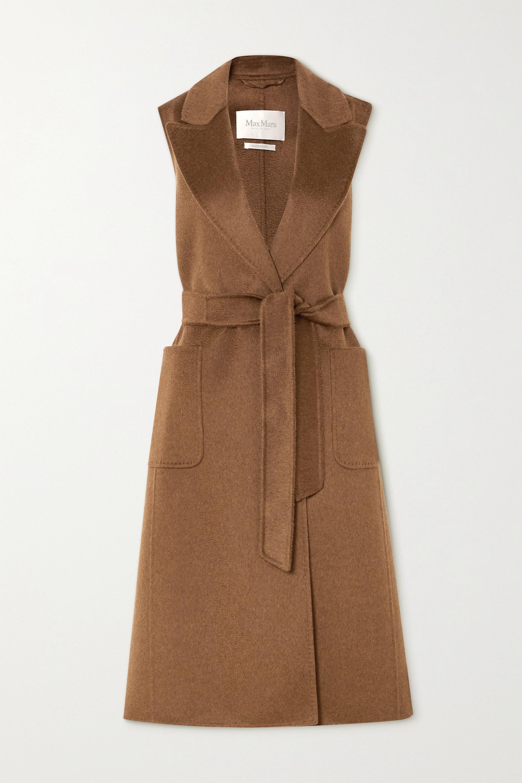Max Mara Belted cashmere and camel hair-blend vest