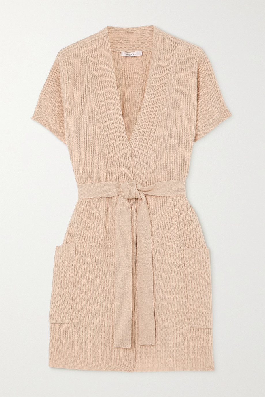 Max Mara Belted ribbed wool and cashmere-blend cardigan