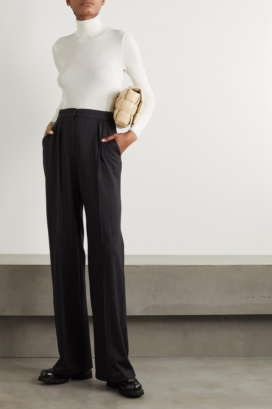 Max Mara Pantalon large en laine mélangée à fines rayures