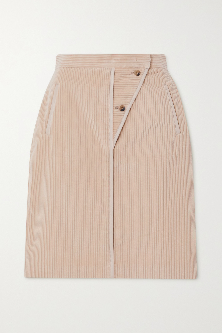 Max Mara Leather-trimmed cotton-corduroy skirt