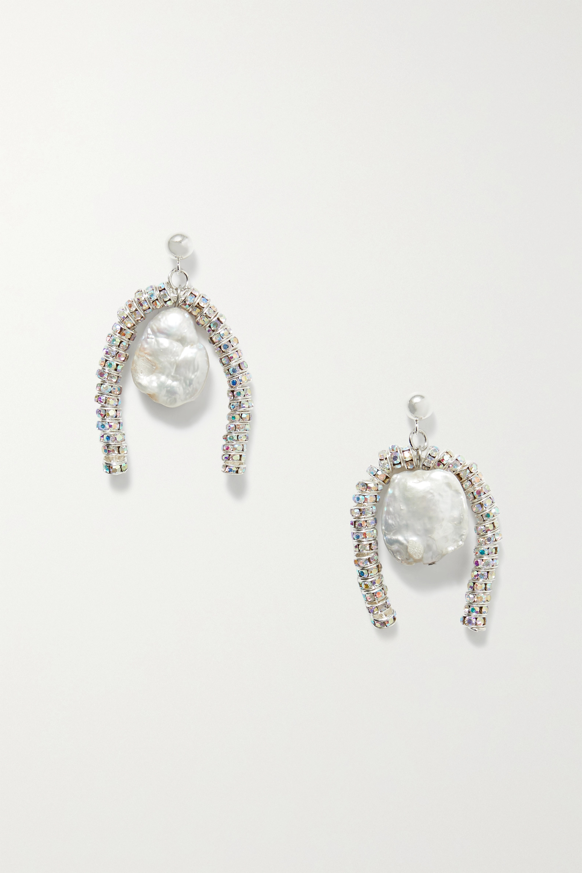 PEARL OCTOPUSS.Y Baroque Paris silver-plated, crystal and pearl earrings