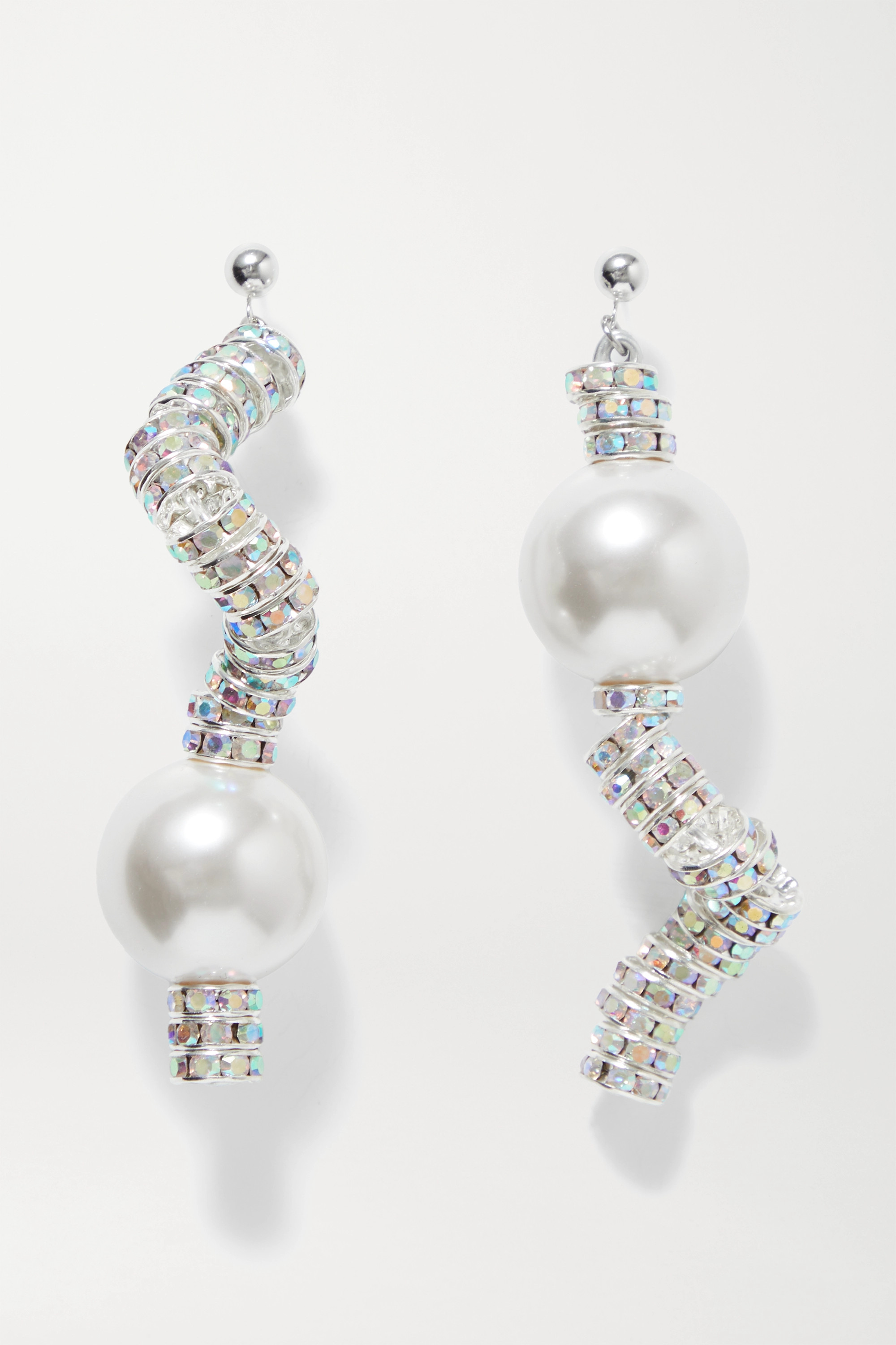 PEARL OCTOPUSS.Y Snake silver-plated, crystal and faux pearl earrings
